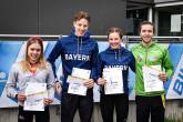Die Ersten und Zweiten des internen Qualifikationswettkampfs in Saarbrücken: Franka Rust, Simon Henseleit, Franca Henseleit und Nick Ziegler (von links).