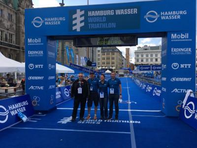 Kampfrichter des TVN beim Hamburg Wasser World Triathlon / WTS Hamburg 2018 im Einsatz